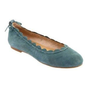 Jack Rogers Lucie Scalloped Suede Flat Teal Sz 8.5